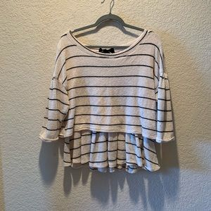 Anthropologie cream and black blouse, size L